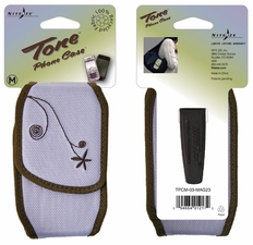 Nite Ize Tone Cell Phone Holster with Magnetic Closure - Medium - Embroidered Lavender (TPCM-03-MAG23)