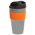 Ultimate Survival Technologies FlexWare Travel Mug - Heat-Resistant Silicone - Collapsible, Lidded Camping Cup - Orange and Gray (20-02733)