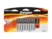 Energizer Max E92-LP-16 AAA 1.5V Alkaline Button Top Batteries - 16 Piece Retail Card