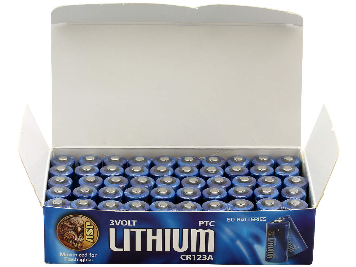 Open Package Shot of the 50 Pack of ASP CR123A Batteries