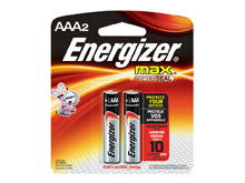 Energizer Max E92-BP-2 AAA 1.5V Alkaline Button Top Batteries - 2 Piece Retail Card