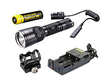 Nitecore Chameleon CG6 Night Hunting Kit - CG6 LED Flashlight - 440 Lumens - with Pressure Switch, Battery Charger, Car Adapter and 18650