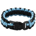 Rescueband Survival Bracelet - Holds Up To 550lbs - Black Outside with Light Blue Inside - 8 or 9 Inch Diameter
