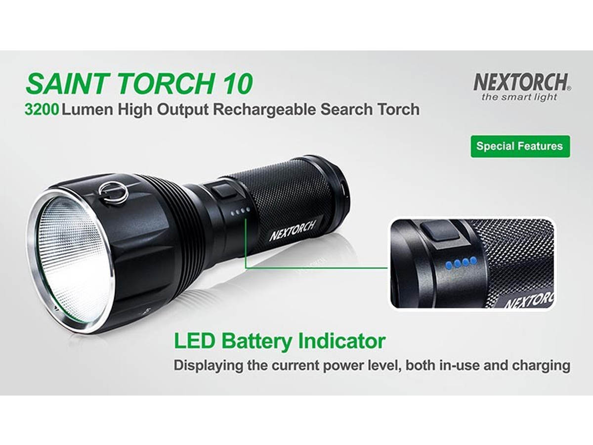 Slide about the LED power indicator for the Nextorch Saint Torch 10