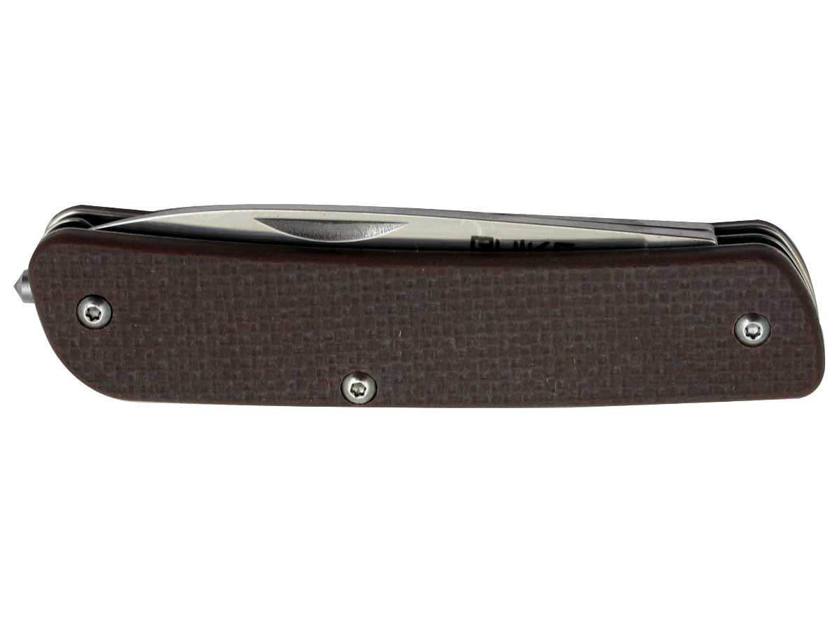 Brown multi-function knife including a corkscrew attachment