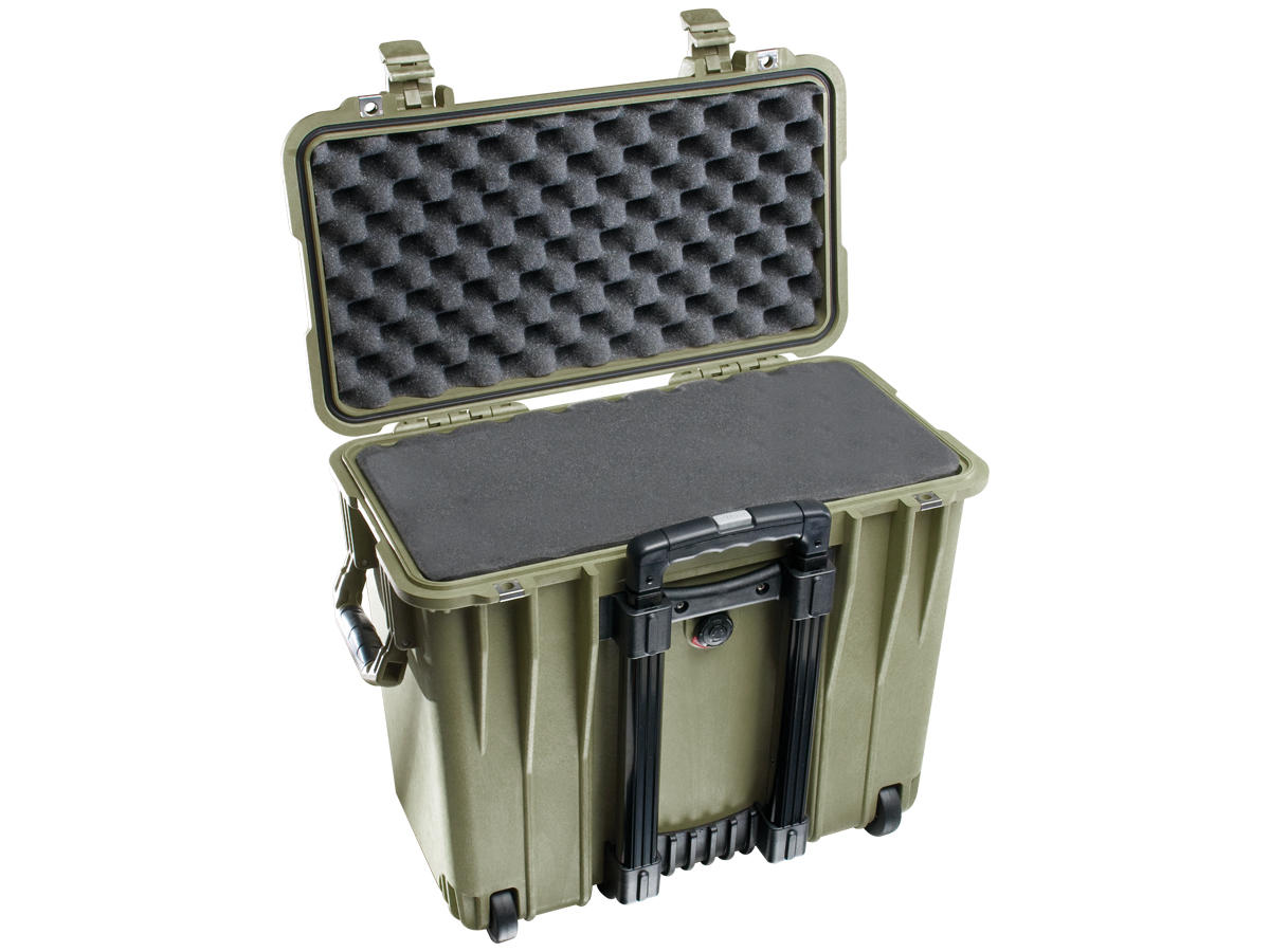 Open Shot of the Green Pelican 1440 Top Loader Case With its Foam Insert