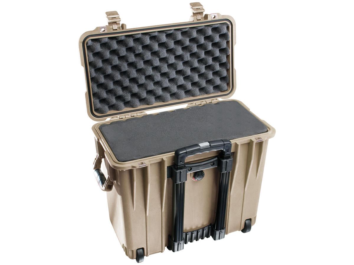 Open Shot of the Tan Pelican 1440 Top Loader Case With its Foam Insert