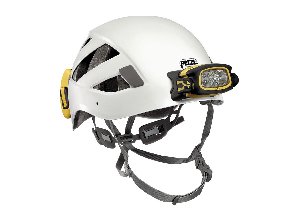 petzl duo z2 headlamp installed on a helmet