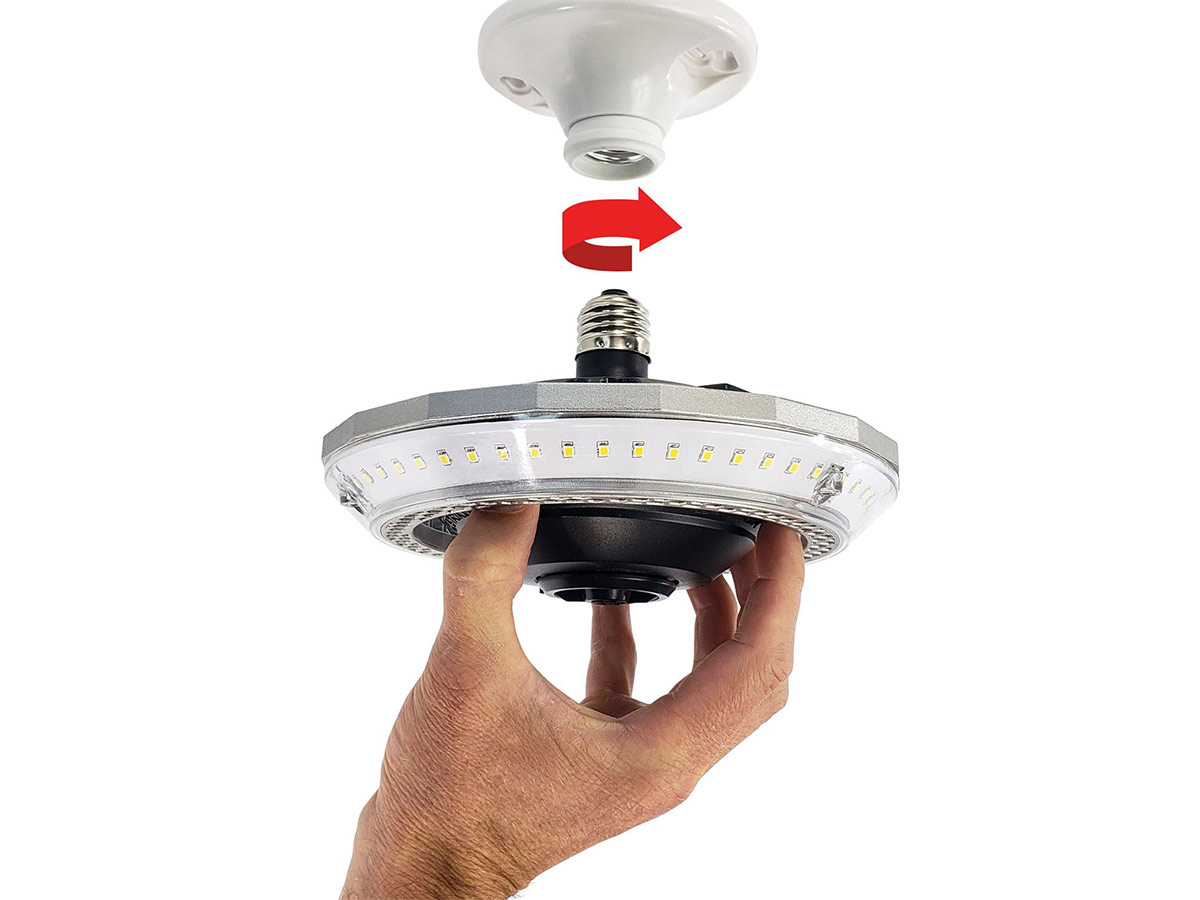 striker multi point illuminator installation example with spinning arrow showing it just takes screwing into existing lamp holder light socket