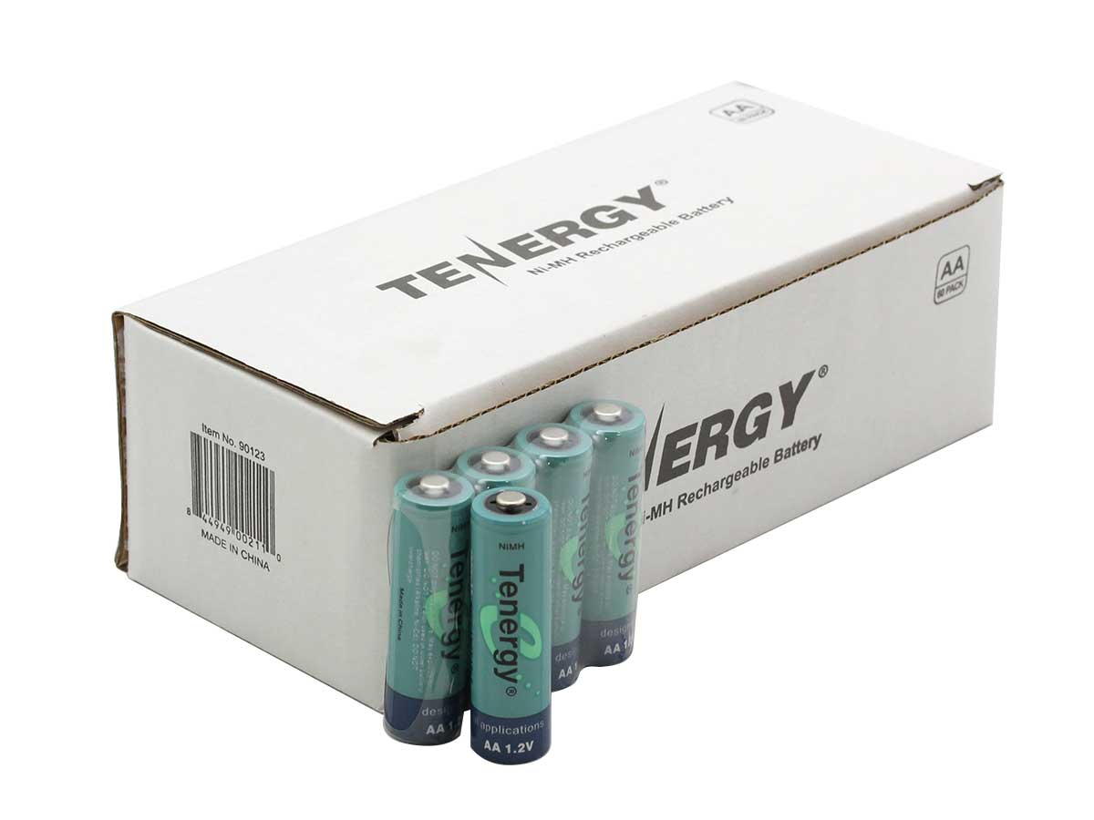 Tenergy 10308 AA batteries next to box