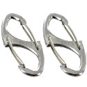 Ultimate Survival Technologies Dual Carabiner 0.5 - Double-Gated S-Shaped Clips - Set of 2 - Silver (20-12070)