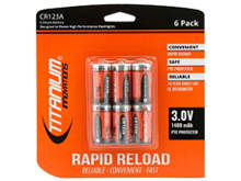 Titanium Innovations CR123A (6PK) 1400mAh 3V 3A Lithium Primary (LiMNO2) Button Top Photo Batteries, 2 Pack Rapid Reload Shrink - 6 Pack Retail Card