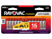 Rayovac Fusion 824-16SCT AAA 1.5V Alkaline Button Top Batteries - 16 Piece Retail Card