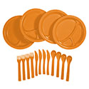 Ultimate Survival Technologies Picnic Set / Camping Dinner Set - Includes 4 x Plates, 4 x Forks, 4 x Knives and 4 x Spoons - Orange (20-02781)