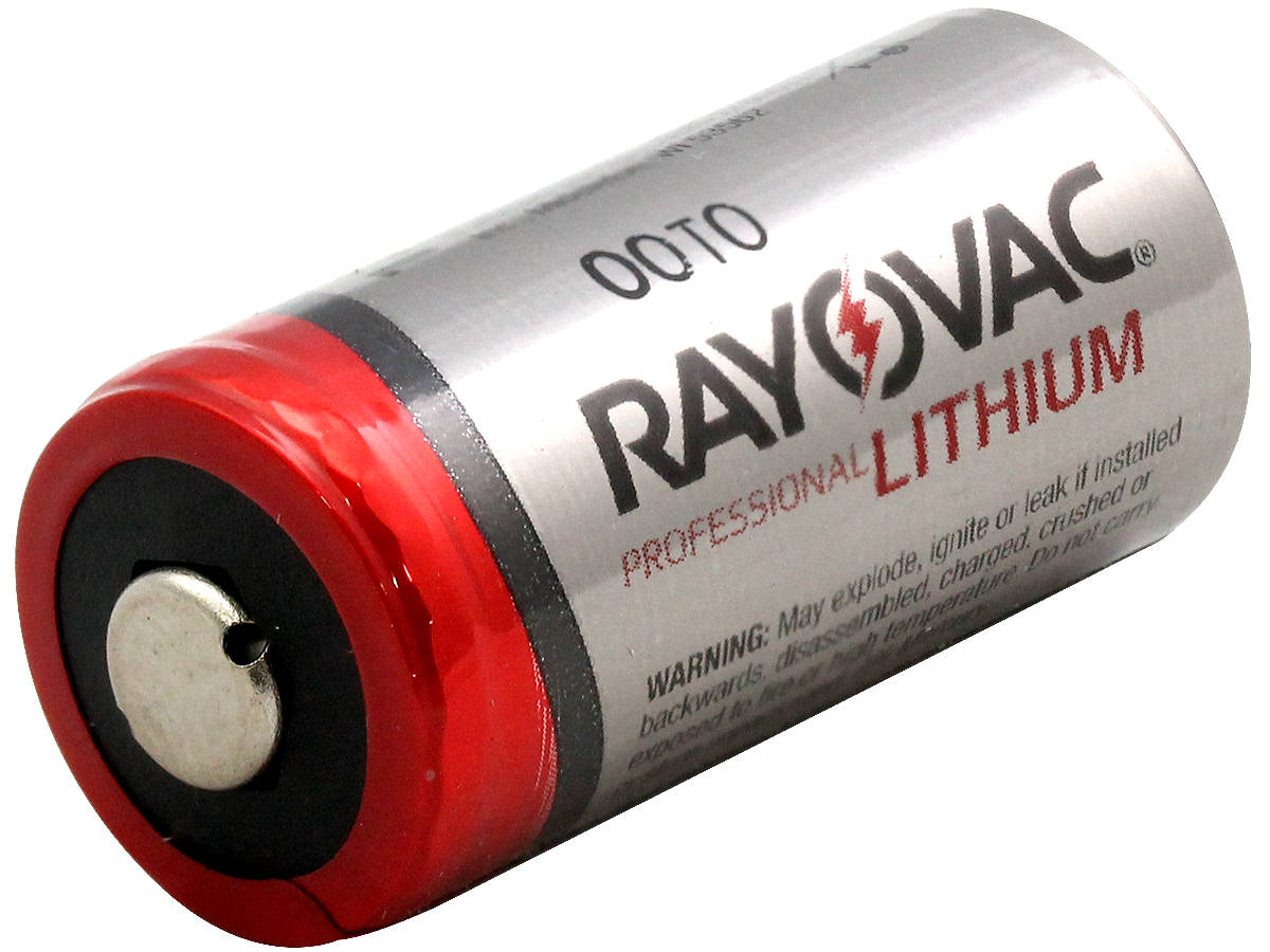 Angle Shot of  Rayovac CR123A Lithium Photo Battery