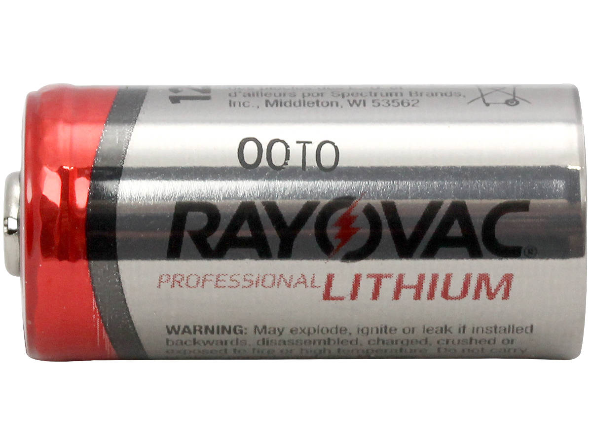 Side Shot of  Rayovac CR123A Lithium Photo Battery