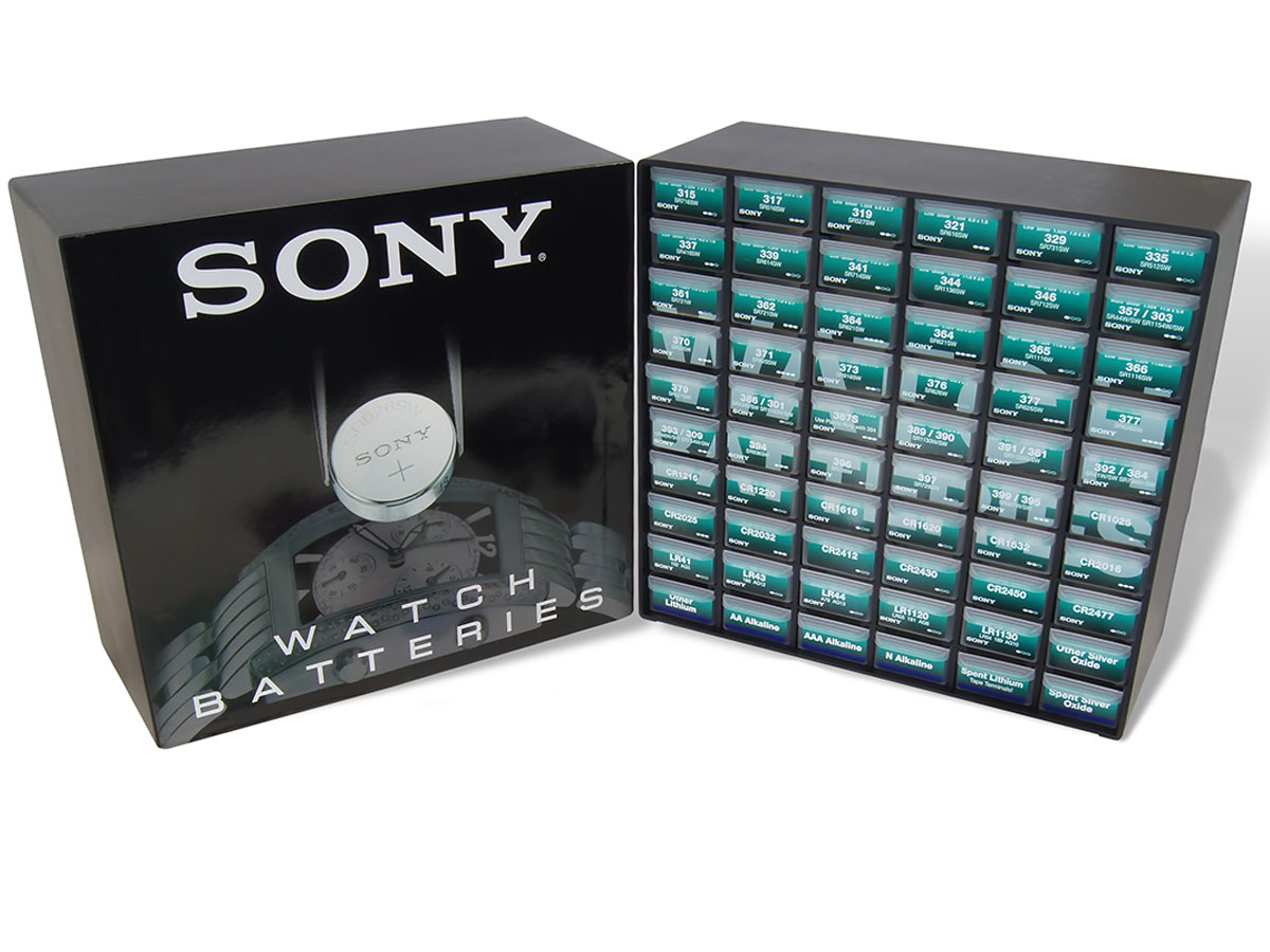 Sony Watch Battery Organizer Cabinet front view