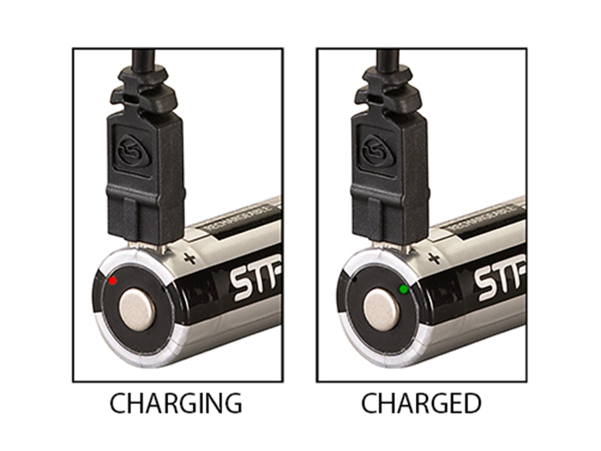 streamlight usb rechargeable 18650 battery while charging