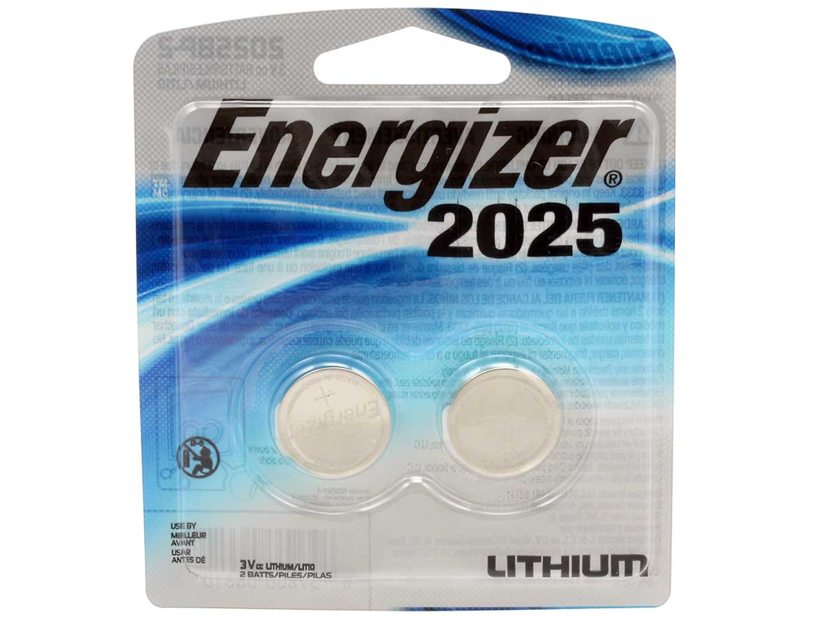 2 Energizer CR2025 coin cells in retail card