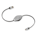 ReTrak Retractable iPhone 5/iPad Lightning Charge and Sync Cable - Silver