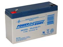Power-Sonic AGM General Purpose PS-6100 12Ah 6V Rechargeable Sealed Lead Acid (SLA) Battery - F1 or F2 Terminal