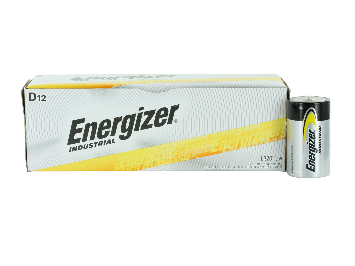 Energizer Industrial EN95 D battery compared to box of 12