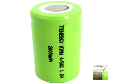 Tenergy 10511 4/5 Sub C 2000mAh 1.2V 2A High-Drain Nickel Metal Hydride (NiMH) Flat Top Battery - With or Without Tabs - Bulk