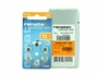 Renata ZA13 6 pk hearing aid batteries retail card standing next to the 10 piece bulk box, box is silver with orange label, white background