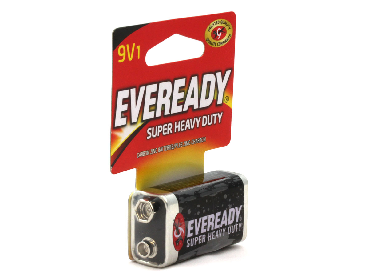 Energizer Eveready Zinc Carbon battery left side angle with retail card