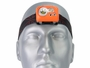 Klarus HC1-S Dual Headlamp with elastic headband on model head looking straight ahead, close up