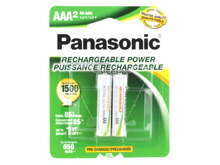 Panasonic Rechargeable BK-4LGAA-2BA AAA 650mAh 1.2V Nickel Metal Hydride (NiMH) Button Top Batteries - 2 Pack Retail Card