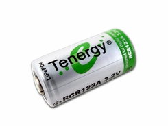 Tenergy RCR123A / 16340 750mAh 3.2V Protected Lithium Ion (Li-ion) Button Top Battery - Bulk (30200)