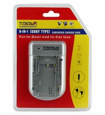 Titanium Innovations 8-In-1 Sony Type Camcorder Battery Charger - AC 100-240V AC + DC Adapters