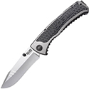 SOG SideSwipe Folding Knife - 3.4-inch Straight Edge, Clip Point - Bead Blasted - Grey Handle - Clam Pack (SW1011-CP)