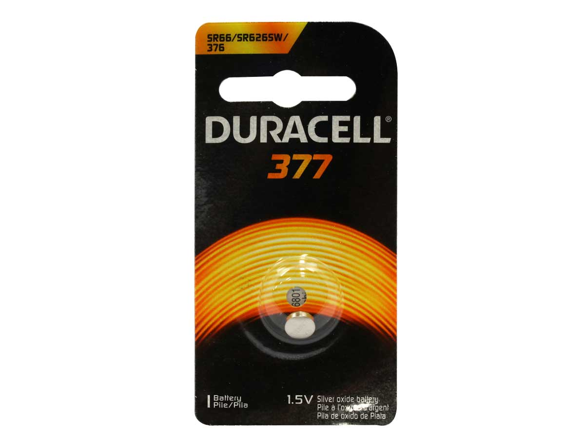 Duracell D377 button cell in retail card