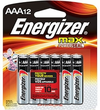 Energizer Max E92-BP-12 AAA 1.5V Alkaline Button Top Batteries - 12 Piece Retail Card