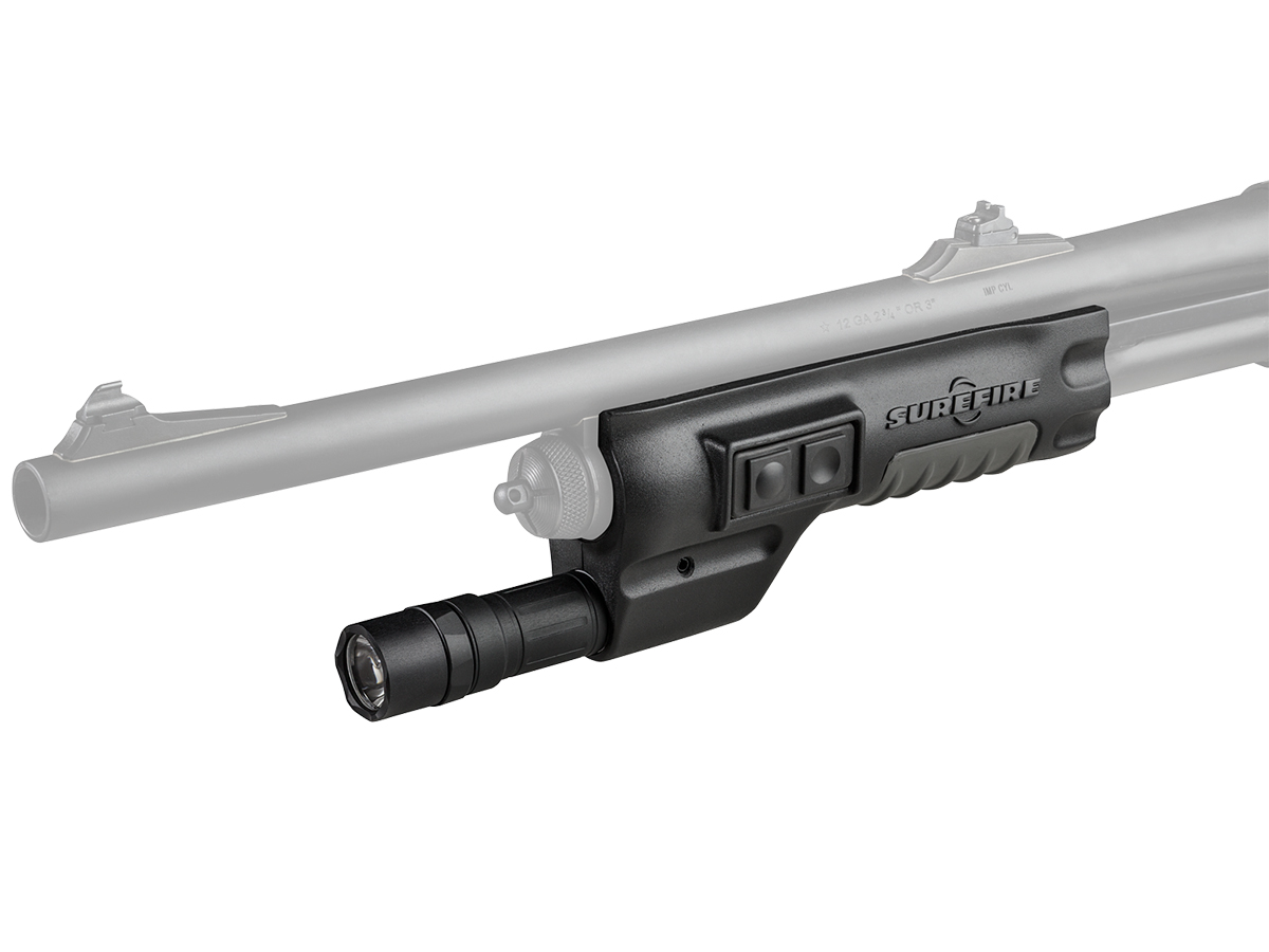 SureFire 618LMG-B side profile with Remington 870