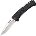 SOG Traction Folding Knife - 3.5-inch Straight Edge, Clip Point - Satin Finish - Black Handle - Clam Pack (TD1011-CP)