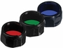 Red, Green, and Blue Fenix Filter Adapters for PD35, PD12, and UC40 flashlights