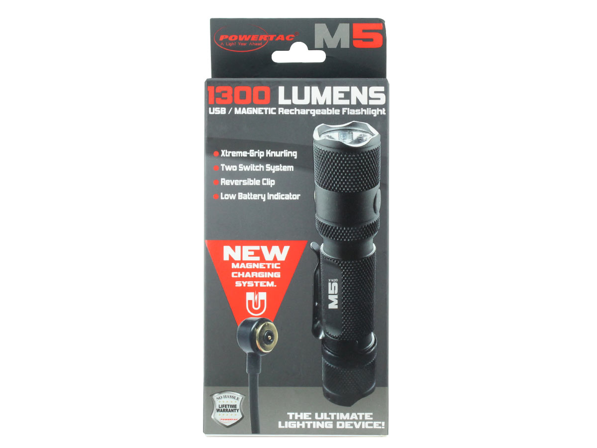 Powertac M5 1300 lumens w// Magnetic Rechargeable Flashlight