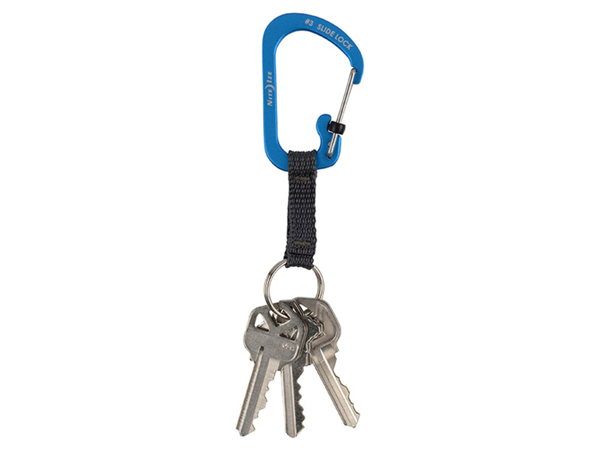 Blue SlideLock key ring with attached keys