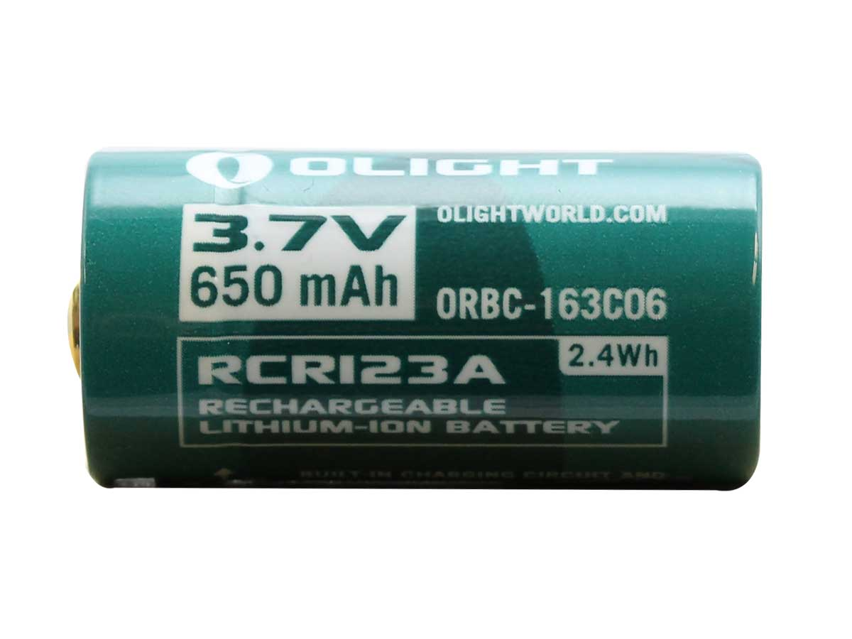 Side angle of the 350mAh battery with the Olight logo