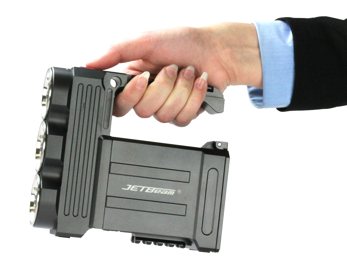 JETBeam T8 searchlight in hand