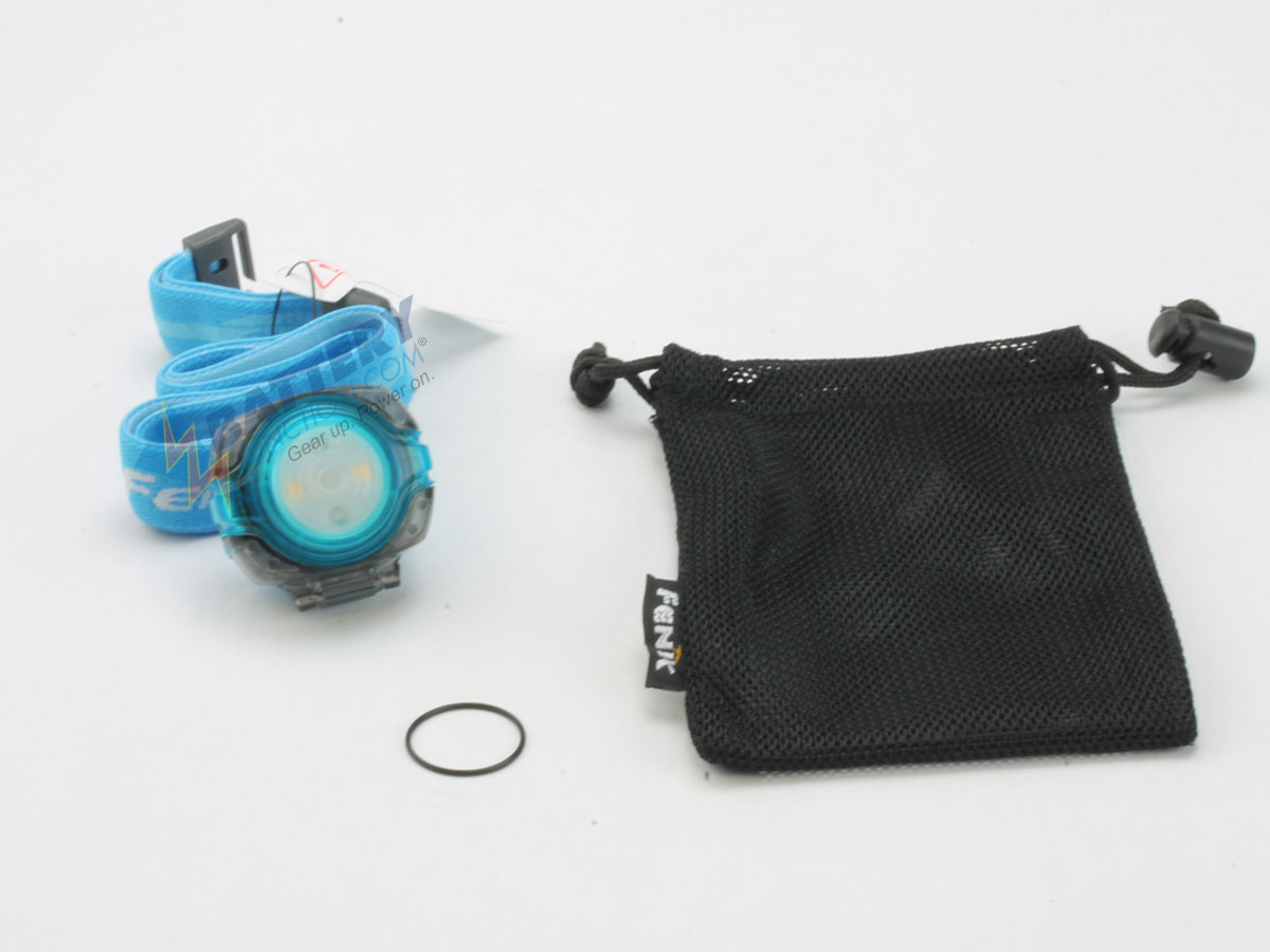 Fenix HL05 headlamp in blue with spare o-ring and bag