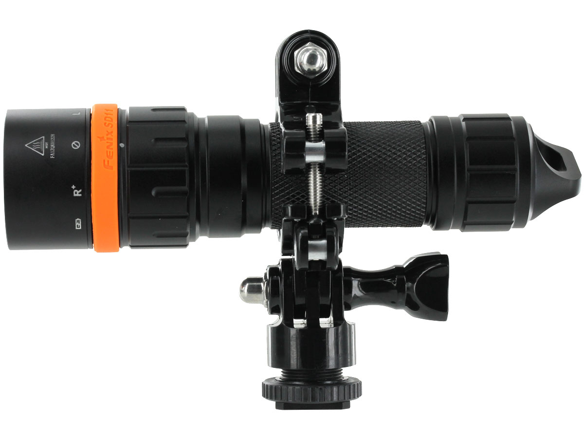 Fenix SD11 flashlight on mount side profile