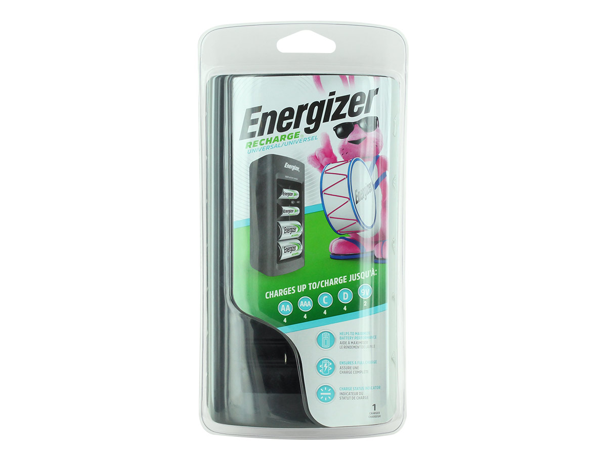 Energizer Universal Battery Charger front view in blister packaging