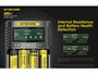 Nitecore UMS4 Charger manufacturer slide describing internal resistance and battery health detection modes
