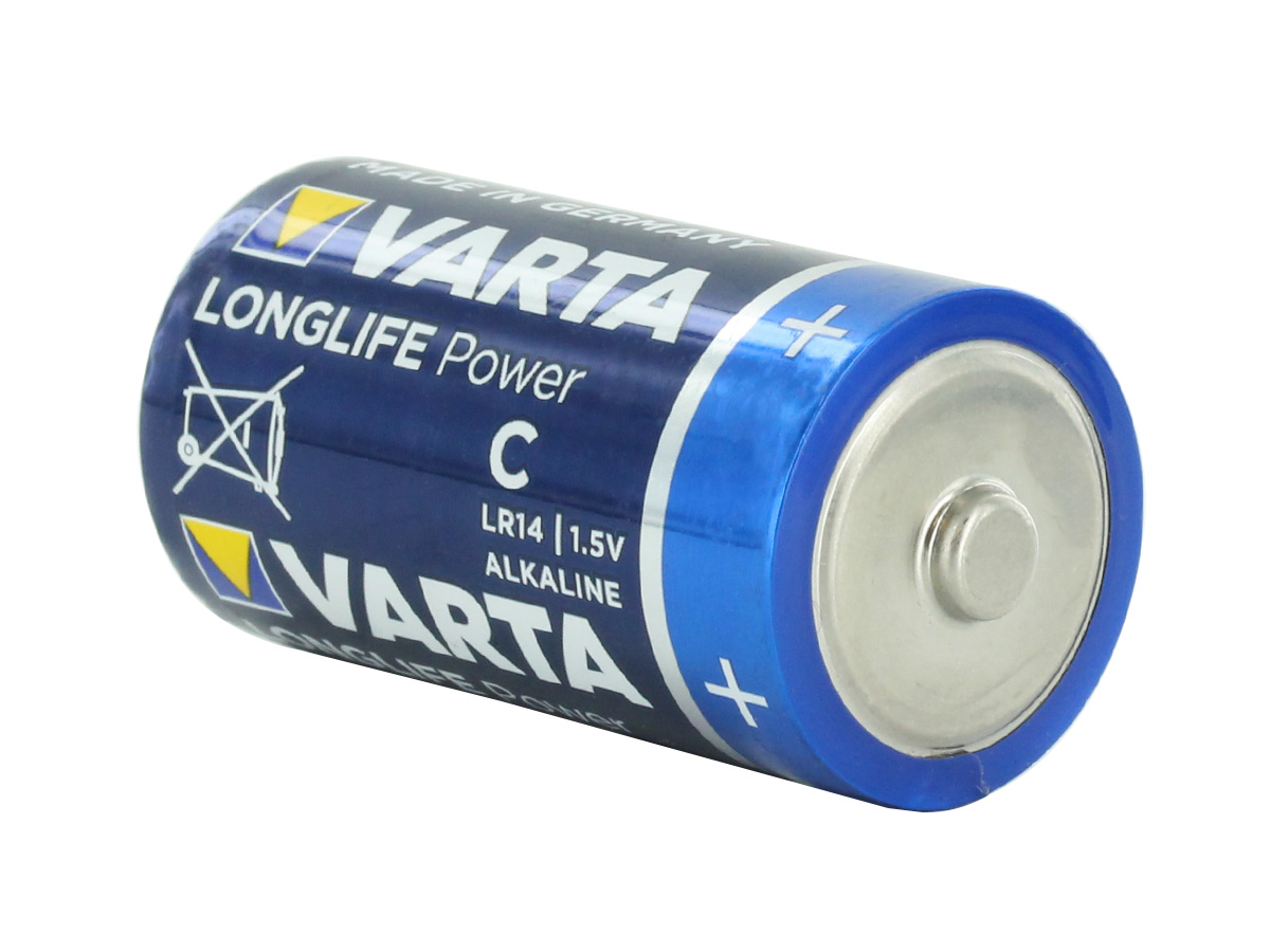 Varta Long Life Power C 1.5V Alkaline Button Top Batteries at an angle
