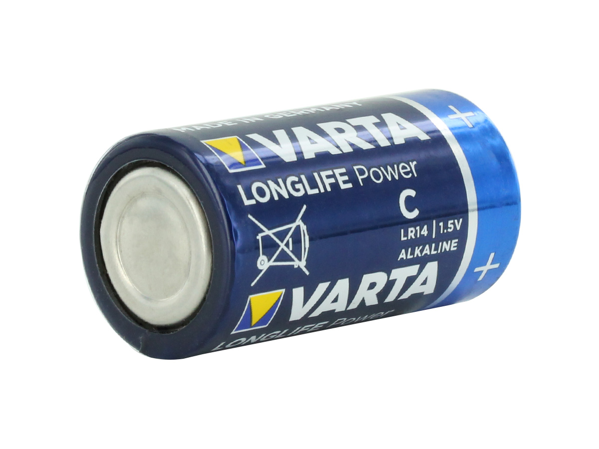 Varta Long Life Power C 1.5V Alkaline Button Top Batteries facing other direction angled
