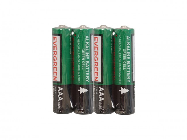4 Evergreen AAA batteries in shrink wrap